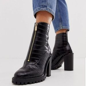 ASOS Chunky Boot Black Croc. New.